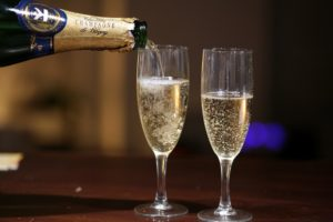 Love and champagne glasses