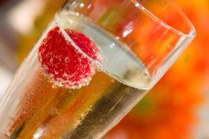 Love and champagne with rasberry